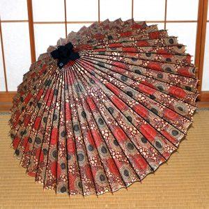 赤 エンジ色 もよう和傘 蛇の目傘  Japanese umbrella