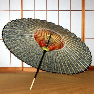 もようの和傘 蛇の目傘の糸掛け 青い蔦と花