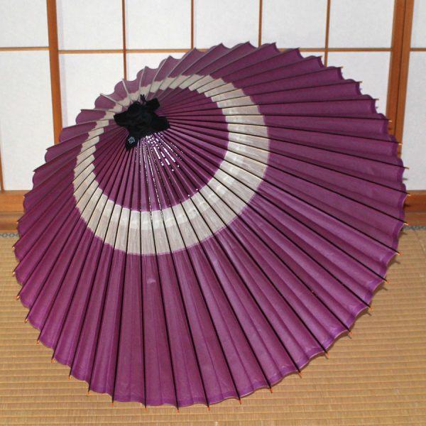 紫 蛇の目柄 あやめ 和傘 中入り Japanese umbrella