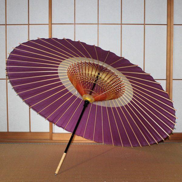紫 蛇の目柄 蛇の目傘 和傘 内側