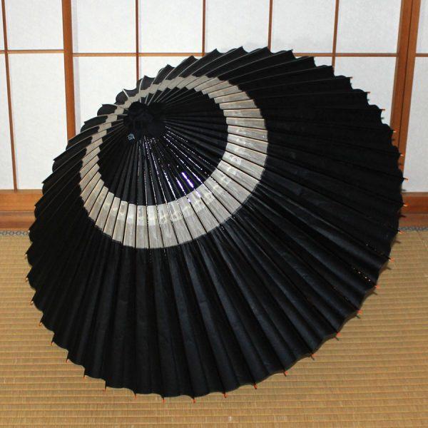 黒 蛇の目柄 和傘 昔からある模様  Japanese umbrella black