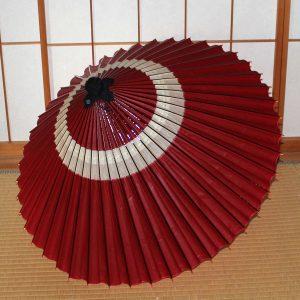 赤 蛇の目柄 和傘 蛇の目傘 中入り  Japanese umbrella red