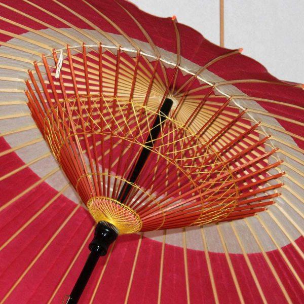 桃色 蛇の目柄 蛇の目傘 中入り 内側