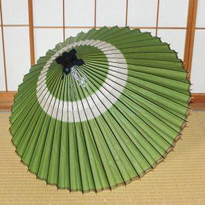 緑 蛇の目柄 和傘 蛇の目傘 伝統的な柄 Japanese umbrella