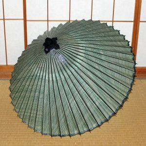 型染もよう和傘 縞模様 利休色 お洒落な蛇の目傘 Japanese umbrella