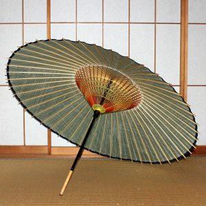 蛇の目傘の内側 緑色の和傘 ふちの藍色がスタイリッシュ Japanese umbrella