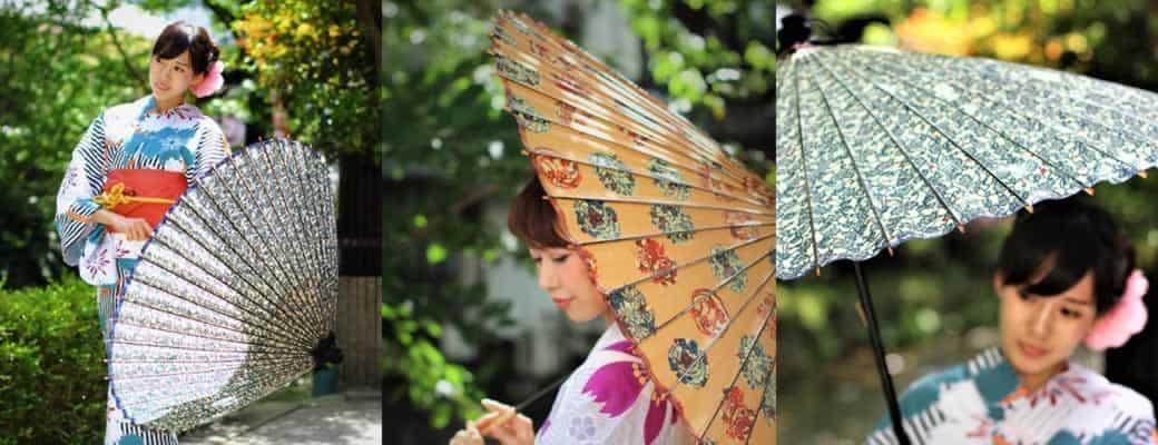 もよう和傘をさす女性 Japanese umbrella  Kyoto 着物姿の女性