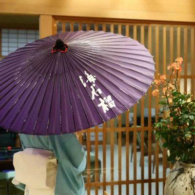 旅館海石榴さんで使用されている蛇の目傘