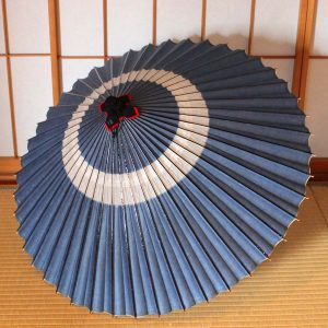 露草色の蛇の目柄 蛇の目傘