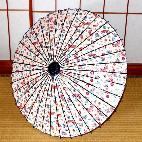 型染和紙の和日傘 白地の和の模様 JapaneseUmbrella