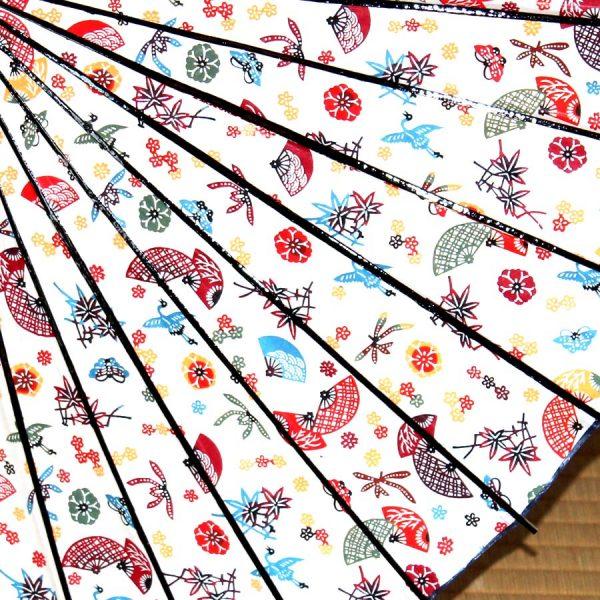 型染和紙の和日傘 扇と松竹梅 和の文様が可愛らしい
