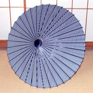 青いストライプの和日傘 JapaneseUmbrella