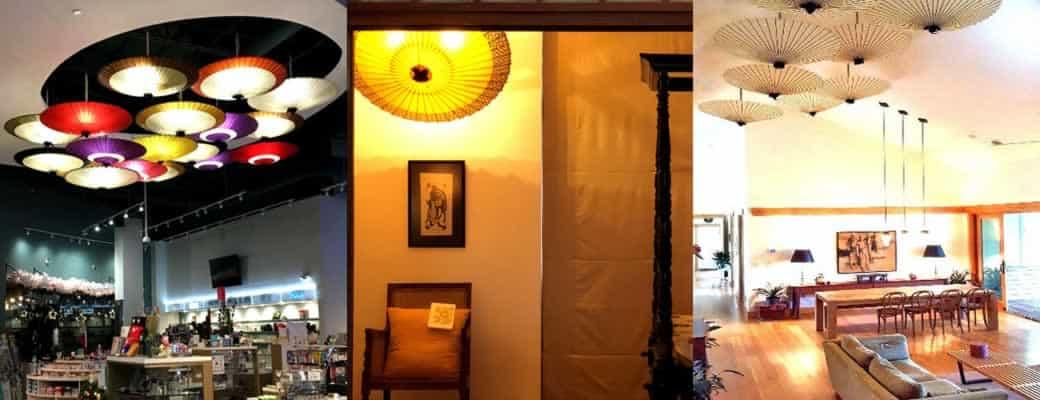 和傘のインテリア 海外でインテリアとして使用されている和傘