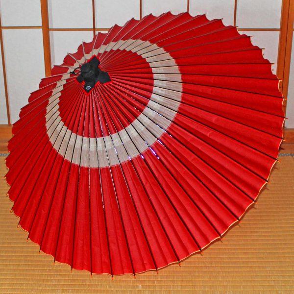 赤い蛇の目傘 辻倉オリジナル和傘「極み」紅花 Japaneseumbrella 越中手漉き和紙