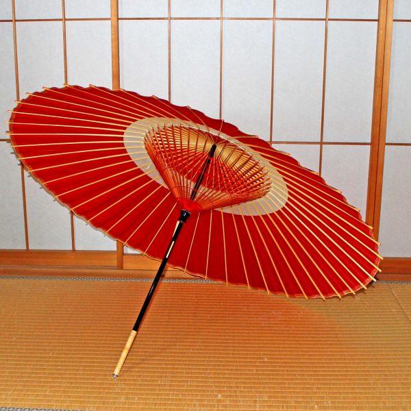蛇の目柄 赤い蛇の目傘 木ハジキ 赤い飾り糸 辻倉オリジナル和傘「極み」 Japaneseumbrella