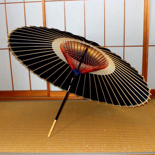 藍色の蛇の目傘 木ハジキ 藍色の飾り糸 蛇の目傘「極み」藍色 Japaneseumbrella