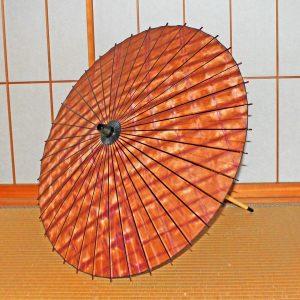 絞り染め和紙の和日傘 Japaneseumbrella オレンジ色日傘