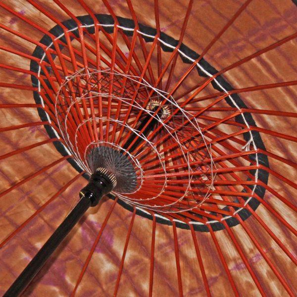 絞り染め和紙の和日傘 美しい糸飾り
