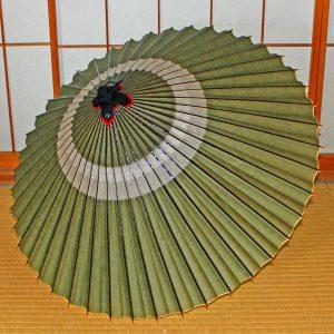 中入り蛇の目傘 蛇の目柄 緑色 和傘 Japaneseumbrella