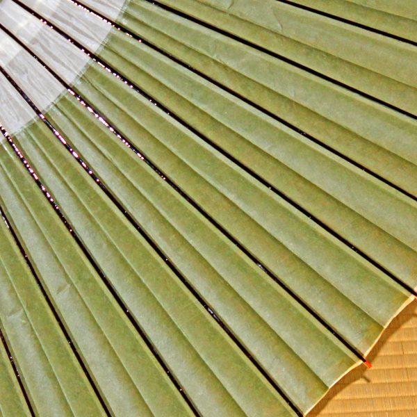 越中手漉き和紙に草木染 緑色の和傘
