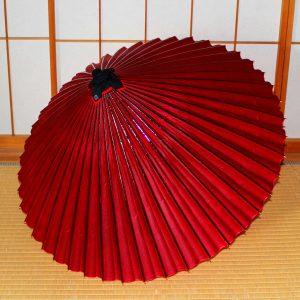 赤い手すき和紙の蛇の目傘 red Japaneseumbrella Tsujikura  和傘