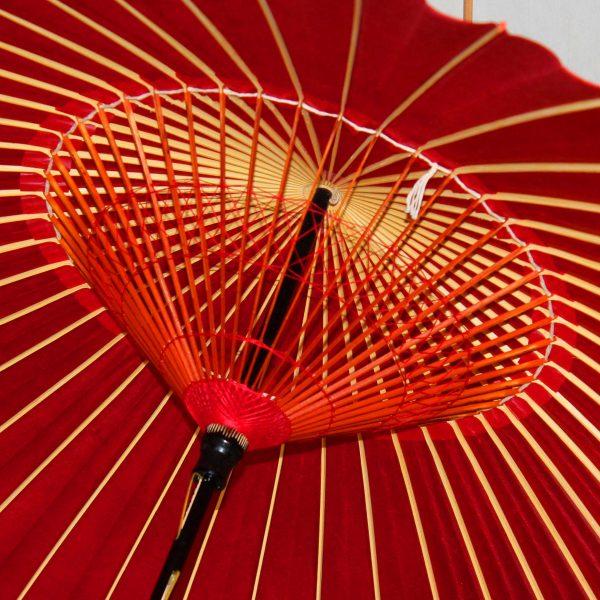 赤い糸飾りの赤い蛇の目傘 和傘