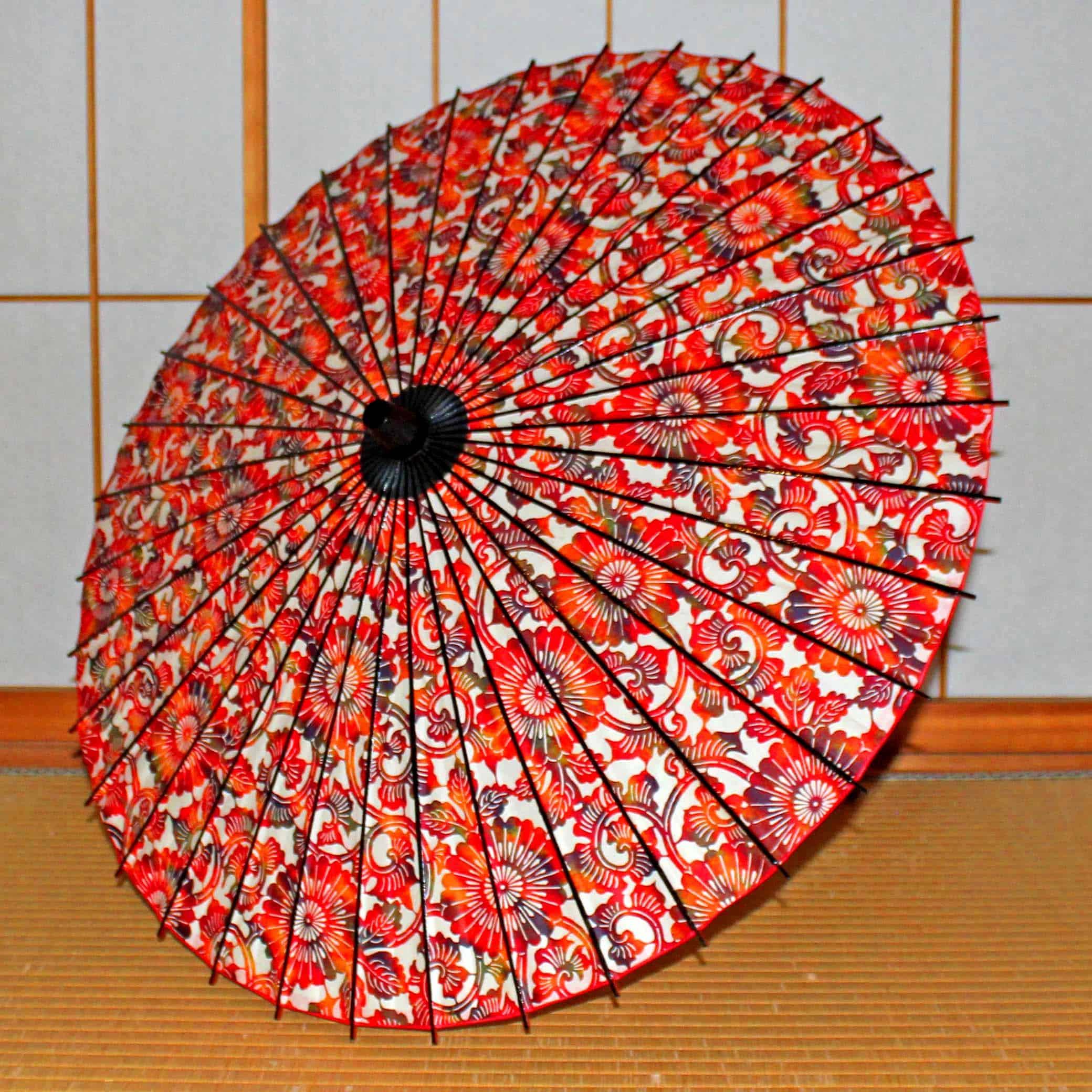 Paper Naturally Parasol Black Bamboo Red Kyoto Tsujikura The