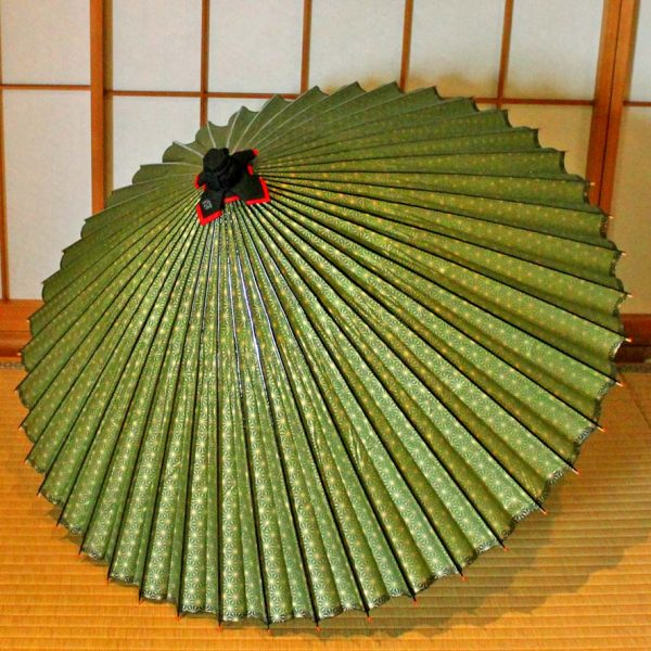 Japanese umbrella Green 麻の葉模様の型染 蛇の目傘 番傘 和傘 辻倉