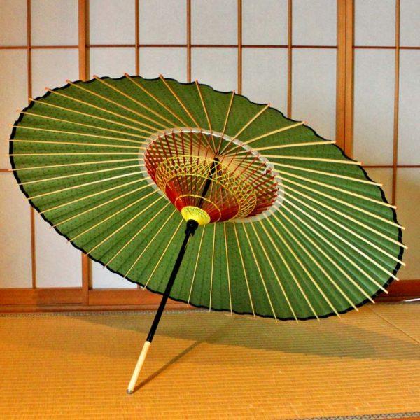 蛇の目傘 緑色 蛇の目傘の糸飾り