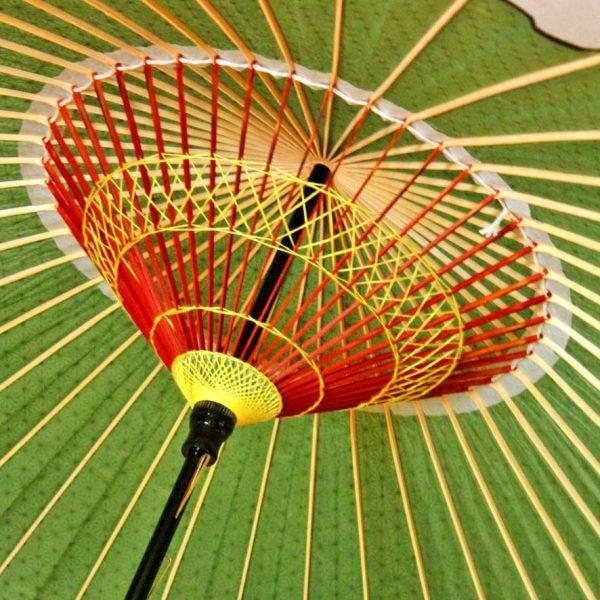 緑色の蛇の目傘の糸飾り Japanese umbrella