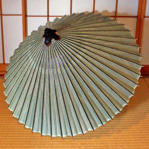 Japanese umbrella Green 縞模様 蛇の目傘 番傘 和傘 辻倉