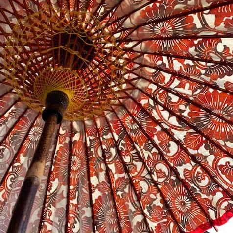 和日傘 型染絞り和紙 黒竹の柄