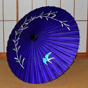 Japaneseumbrella 紫色の和日傘 ツバメと柳もよう