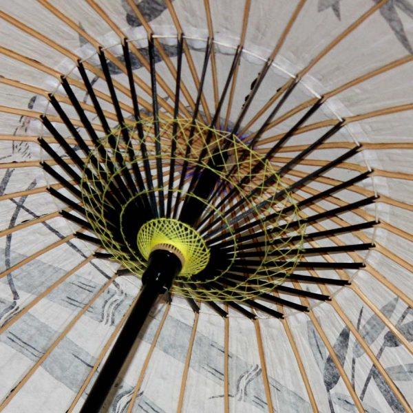 白い和日傘の内側 糸飾り