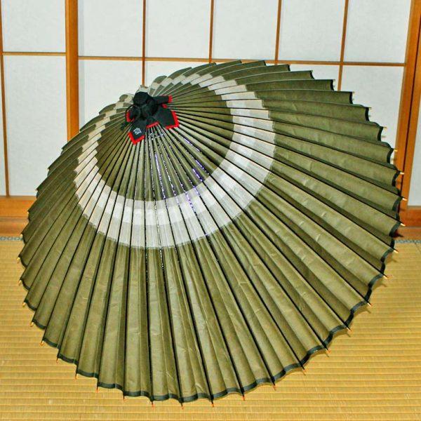 蛇の目柄 緑色の蛇の目傘 Japaneseumbrella green