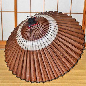 蛇の目柄 蛇の目傘 中置 茶色 Japanese umbrella