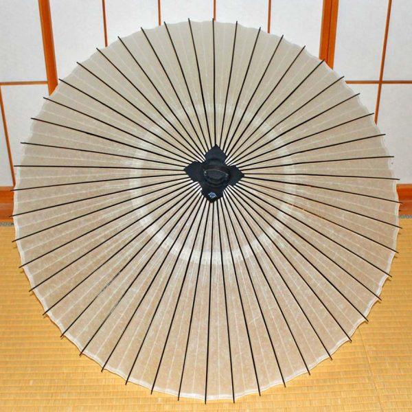 番傘 和傘 白い番傘 黒竹 木ハジキ