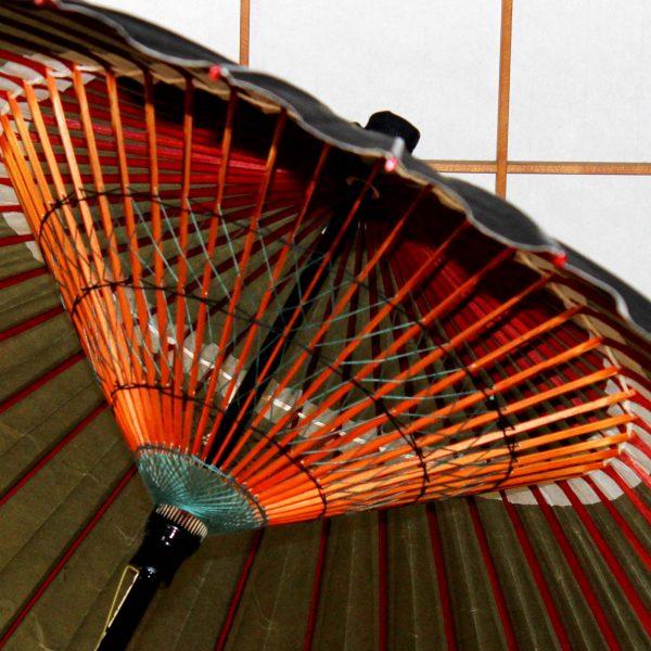 緑と黒の和傘 月の模様 手作り 雨の和傘 Japanese umbrella