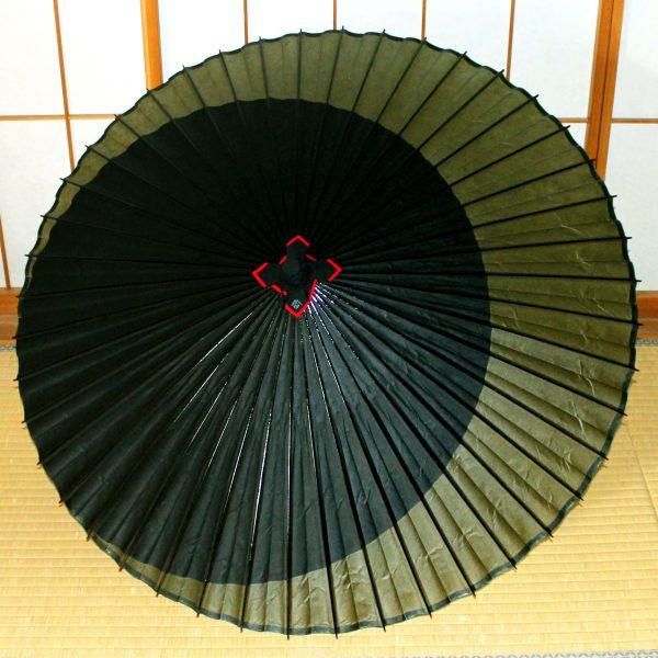 特選月奴 緑 黒 Japanese umbrella 和傘 蛇の目傘