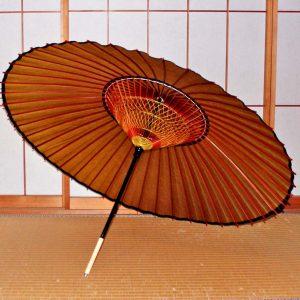 黄金色のじゃの目傘 内側 糸飾り2段 Japanese umbrella