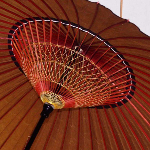 あずき色の蛇の目傘 内側 糸飾り2段 傘骨が赤い