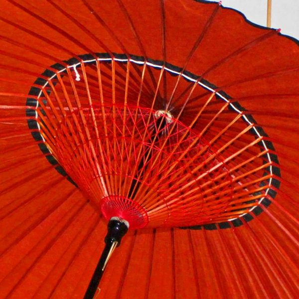 和傘 蛇の目傘 内側の糸飾りが美しい 紅葉色