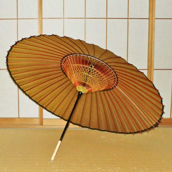 和傘 蛇の目傘 黄金色の蛇の目傘の内側 2段黄色の糸飾り
