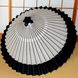 和傘 軒色変わり白地に黒 Japanese umbrella Black White