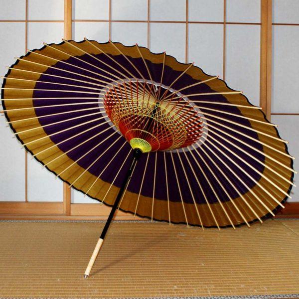 蛇の目傘軒色変わり 紫地に黄金色 和傘の内側