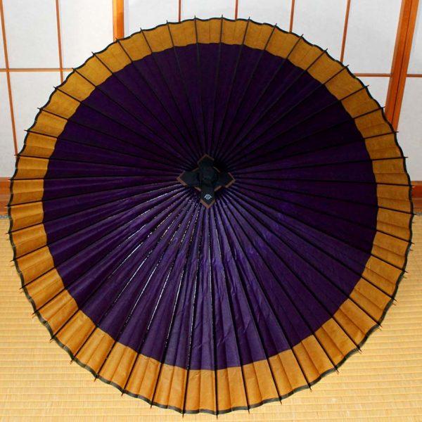 蛇の目傘 軒色変わり 紫地に黄金 Japanese umbrella