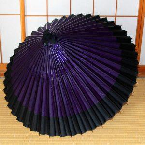 蛇の目傘軒色変わり 紫地に黒 和傘 Japanese umbrella