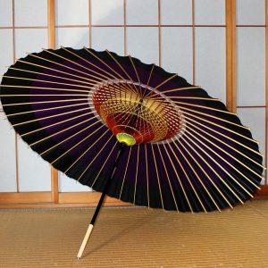蛇の目傘の内側 紫と黒 Japanese umbrella