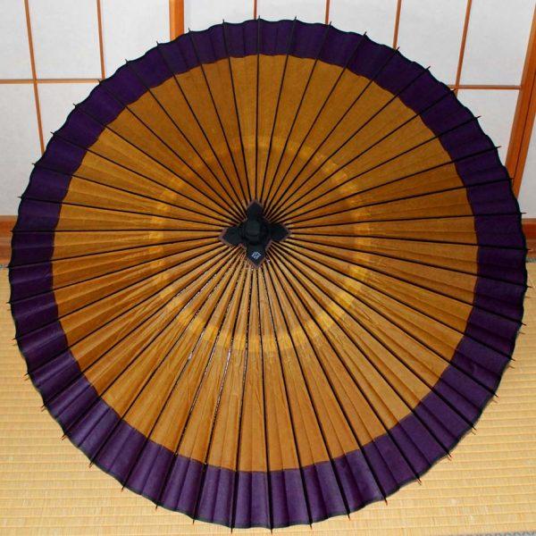 Japanese umbrella 蛇の目傘軒色変わり黄金地に紫