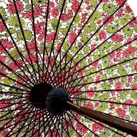 型染和日傘の内側 光を通す和紙の色合い